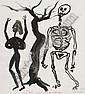 """HANS PETER ZIMMER """"Tod und Mädchen"""". Weiblicher Akt und Skelett unter einem Baum."""