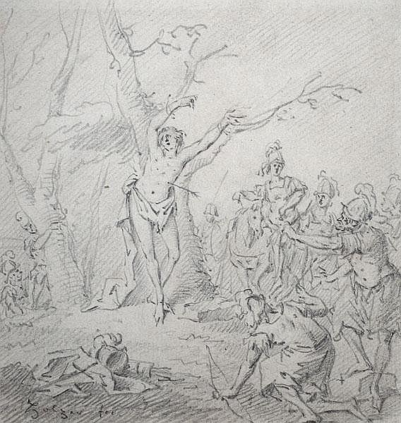 JOHANN EVANGELIST HOLZER - zugeschrieben Das Martyrium des heiligen Sebastians.