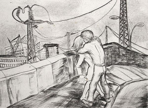 LEA GRUNDIG-LANGER Paar auf einer Brücke.