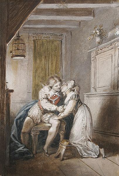 JOHANN HEINRICH RAMBERG Liebespaar bei Kerzenschein. Interieur.