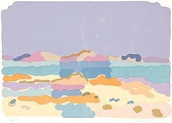 20. JAHRHUNDERT CHARLES LAPIQUE Theize/Rh?ne 1898 - 1988 Orsay Lagune Bretonne. Farblithographie 1976. - Expl. 82/100. Signiert . Auf Velin d'Arches. 34,5 x 50 cm. [sg]