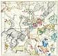 WELTKARTEN HIMMELSKARTE Himmelkugel in sechs Karten abgebildet. 6 Bll kolorierte Kupferstichkarten nach dem 1673/74 entstandenen Globi coelestis in Tabulas planas... von Ignace-Gaston Pardies aus Himmelkugel in sechs Karten abgebildet, aus dem