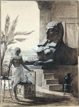 """OTTO GERLACH : Pharao vor der Sphinx. Illustrationsvorlage für """"Wie die Sphinx entstand""""."""