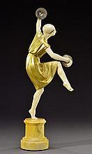 LUCIEN ALLIOT (1877-1967) Sculpture chryséléphantine en bronze doré et ivoi
