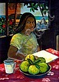 DIANA CROOKE (1954 - ), Original Acrylic Painting on Canvas, Title:  Girl with Bush Lemon, Signed Lower Left, Titled Verso, Diana Crooke, Click for value