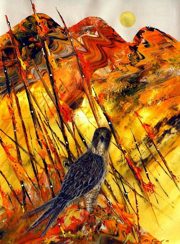 PETER COAD (1947 - ), Original Mixed Media Painting, 1998, Title:  Falcon - Ancient Land, Signed and Dated Lower Right