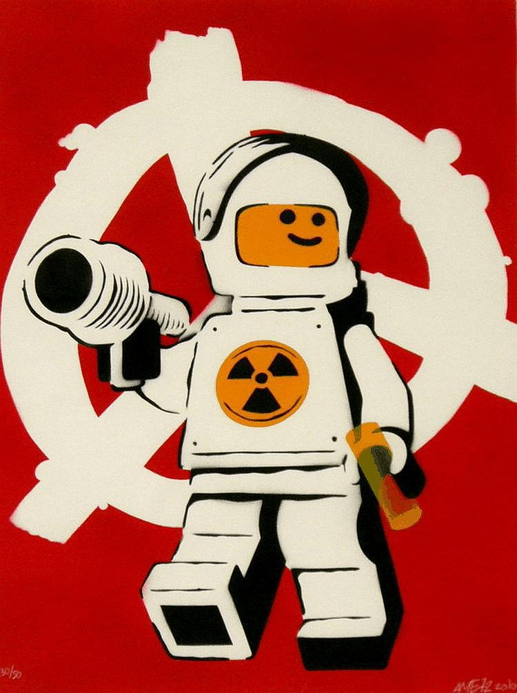 AME72 (UK), Limited Edition Hand Finished Silkscreen, 2010, Title:  Nuclear Meltdown (Red), Signed and Dated Lower Right, Editioned Lower Left:  30/50