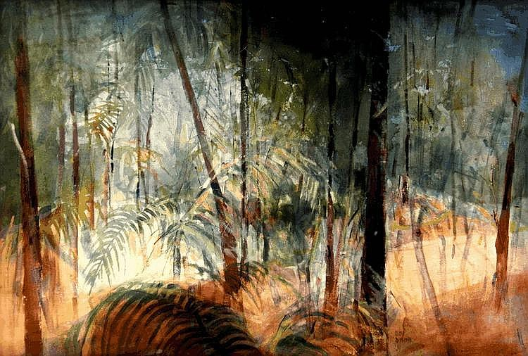 SUSAN SHERIDAN (1939 - ), Original Oil Painting on Canvas, 1981, Title:  Rainforest, Signed and Dated Lower Centre