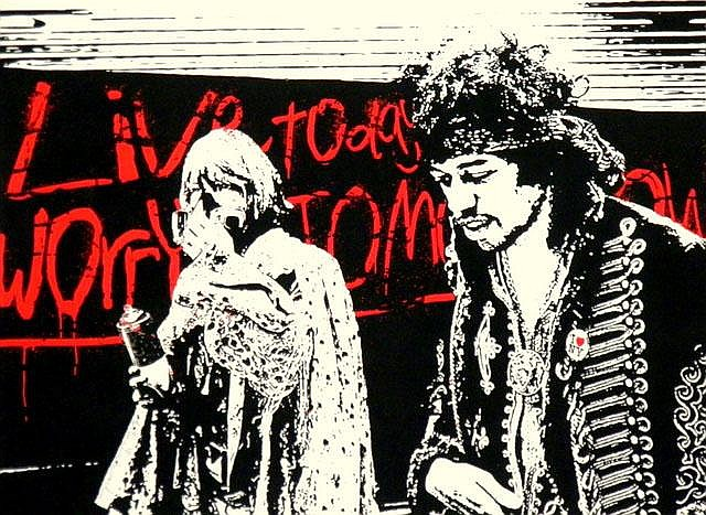 MR BRAINWASH (USA), Limited Edition Colour Silkscreen, Title:  Live Today Worry Tomorrow, Signed Lower Left, Editioned Lower Centre:  70/100, Fingerprinted Verso