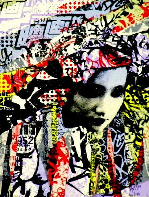 HUSH (UK), Limited Edition 9 Colour Screenprint Hand finished with Acrylic Paint, Spray Paint, Tea on Somerset Velvet, Title:  Unmasked Geisha, Signed Lower Right, Editioned Lower Right: 74/133