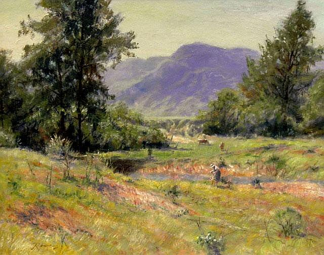 REG ROWE (1919-2009), Original Oil Painting on Board, Title:  Kangaroo Valley, Signed Lower Left