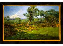 Michele Catti (Palermo 1855 – Palermo 1914). Bucolic landscape with olive trees and the mount Etna on the background. 75cm x 120cm, oil paint on canvas. Signed, dated 1890 on the bottom right corner