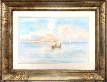 Catti Michele (Palermo, 1855 - Palermo, 1914). Monte Pellegrino with boats. 25x35, pastel on
