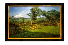 Paintings - Michele Catti (Palermo 1855 – Palermo 1914) . Country landscape with olive trees and Etna. Signed and dated 1890 on the bottom right