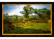 Michele Catti (Palermo 1855 ? Palermo 1914). Bucolic landscape with olive trees and the mount