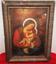 Dutch or European  Circa 1700  Christ   OLD MASTER OIL PAINTING ON COPPER , UNSIGNED  THE AURA OF THE VIRGIN AND THE STAR OF THE HOLY ARE GOLDEN.