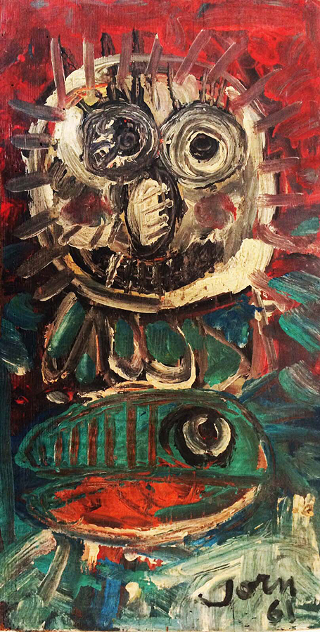 Jorn Original Oil on wood from 1961 Owl