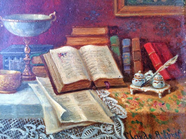 Claude Raquet  Original Oil on canvas Still Life  circa  1890