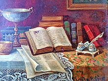 Claude Raquet  Original Oil on canvas Still Life  circa  1890