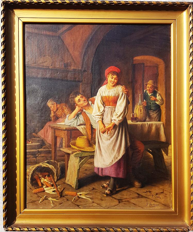 Giovanni Sandrucci Original Oil on canvas Tavern from 1860