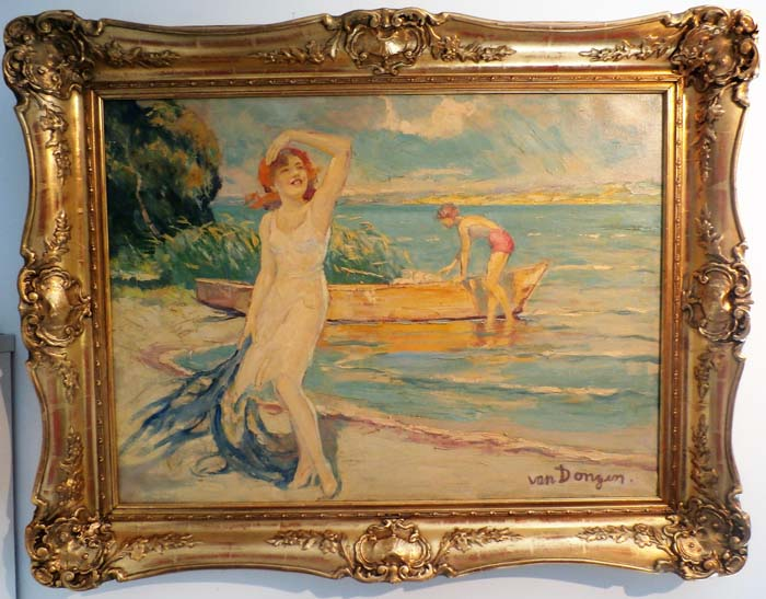 Van Dongen Bathers Original Oil on canvas  32x24 inches image size, 38x30 inches