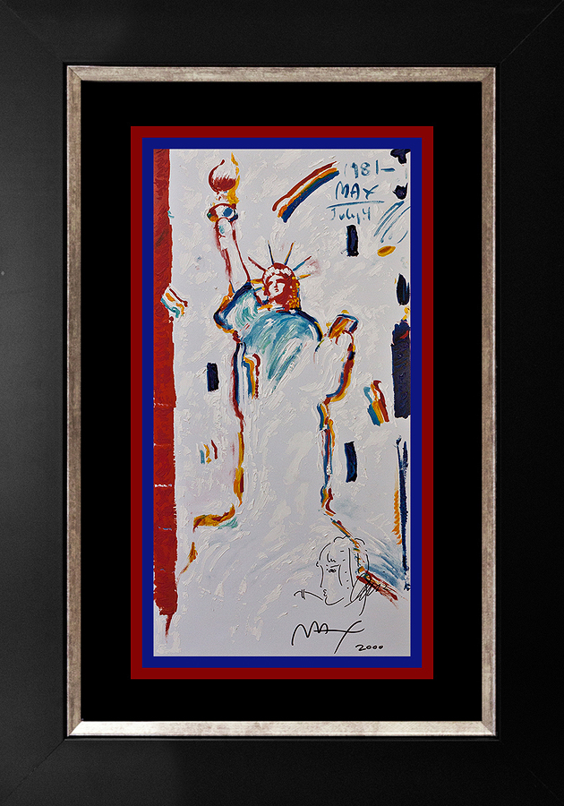 Peter Max Mixed Media on paper Liberty and Justice for all.