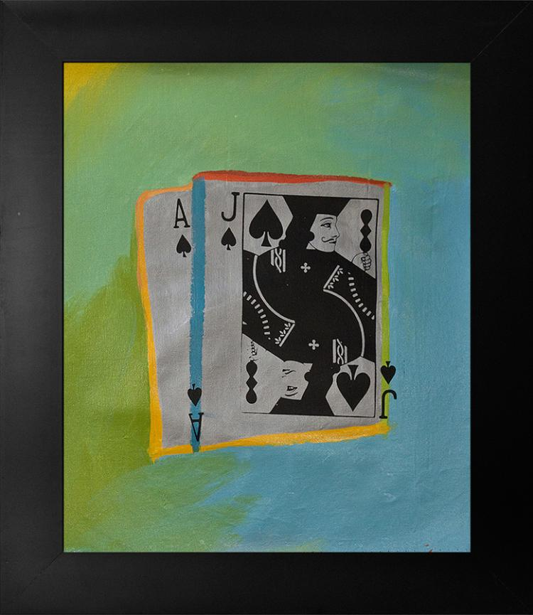 Playing Cards Gaming Steve Kaufman Limited Edition Serigraph on Canvas