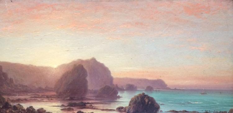 Alfred Thompson Bricher original oil on board. (1800s)