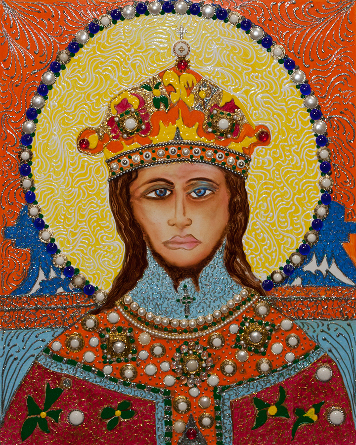 William Verdult The King Original Oil on panel with embedded Jewels