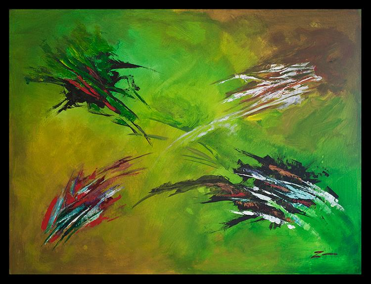 In Green Original Acrylic Abstract by Zinovy 36 x 48
