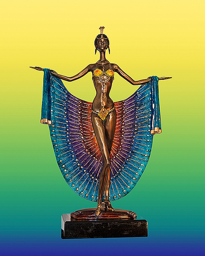 Sergey Lady Peacock Bronze Sculpture