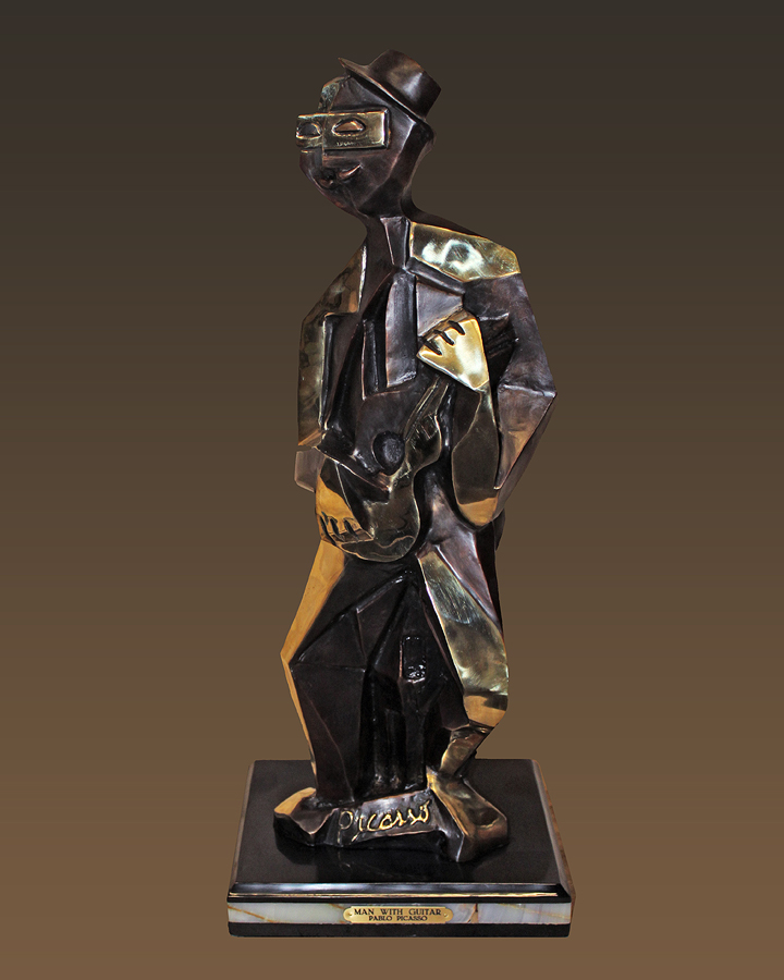 Pablo Picasso Guitar Man Patinated Bronze Sculpture