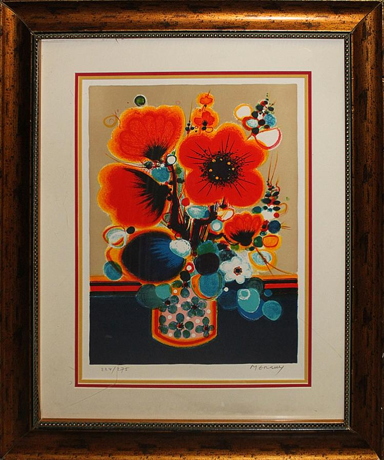 Menguy-Limited Edition Serigraph Hand Signed Poppies
