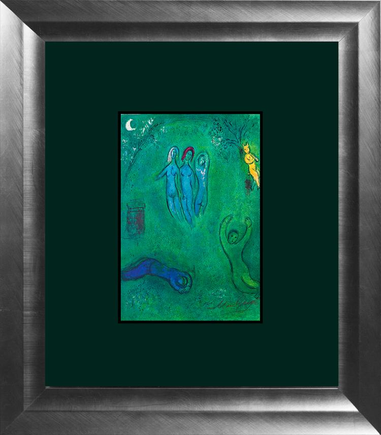 Marc Chagall Hand Signed Lithograph Three Nymphs