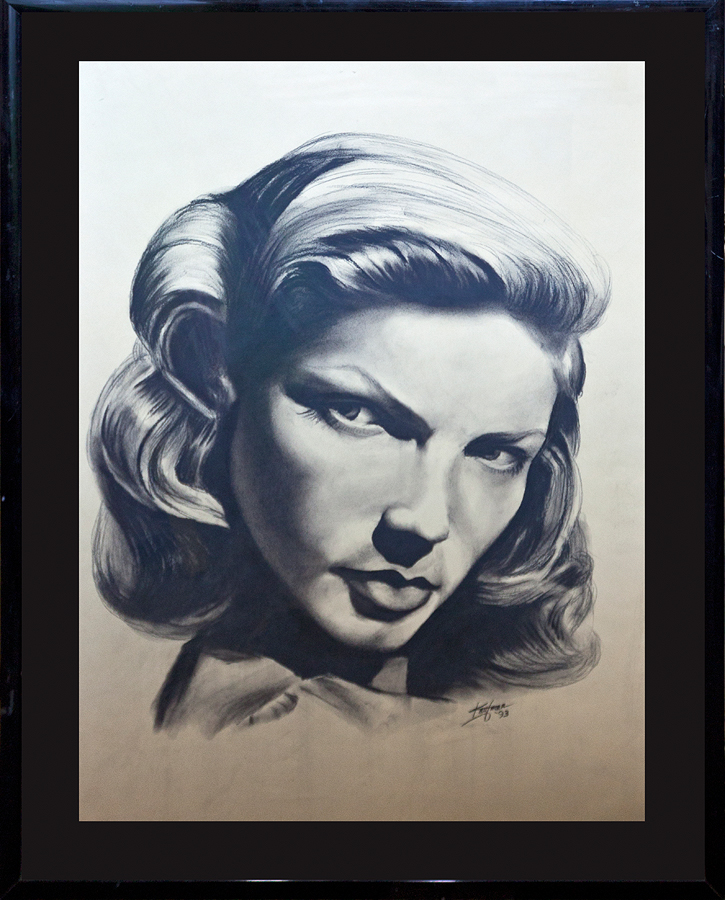 Original charcoal drawing on paper Lauren Bacall by Traubert