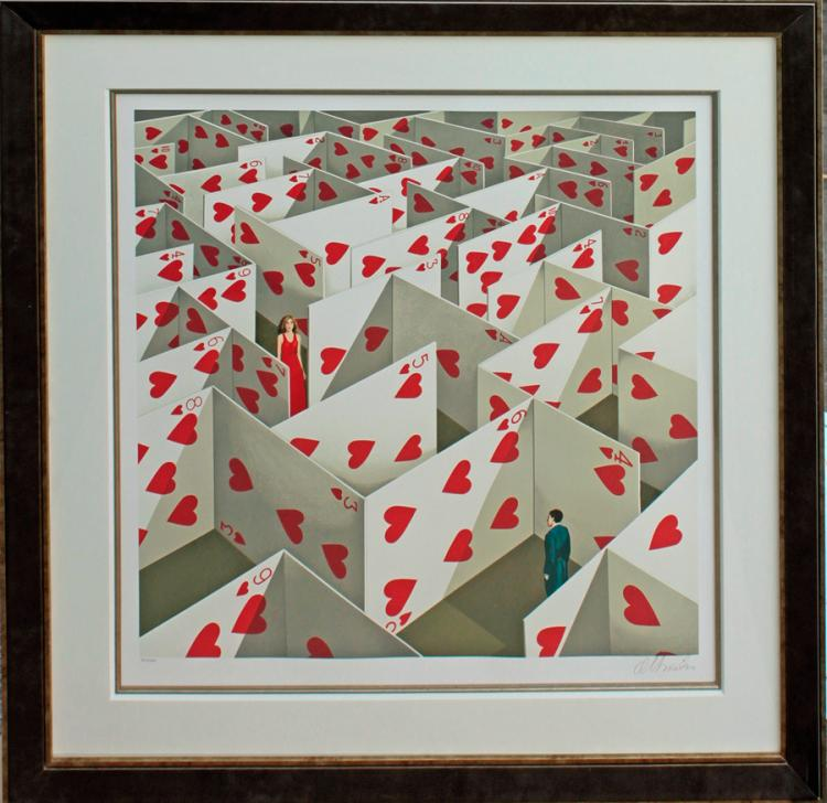 Rafal Olbinski Original Lithograph Limited Edition Maze of Cards
