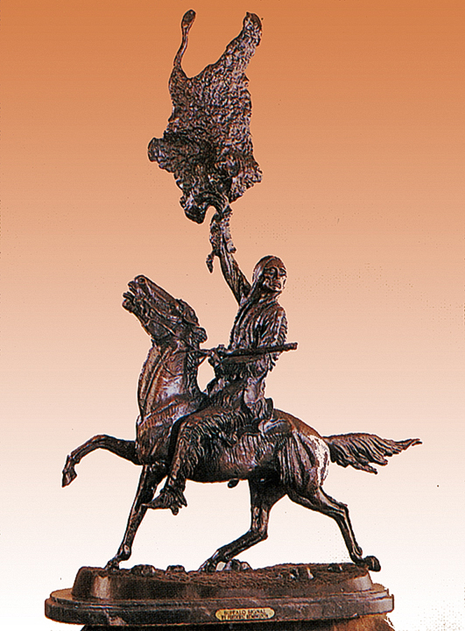 Frederic Remington Buffalo Signal Bronze Sculpture