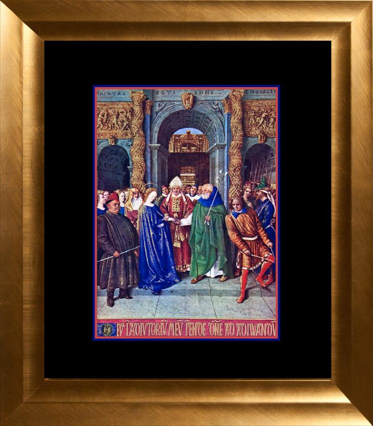 Fouquet Lithograph miniature of the Conde Museum The Birth of St. John