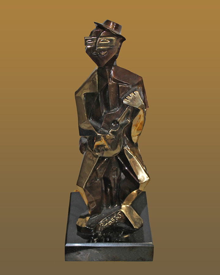 Pablo Picasso Bronze Sculpture The Guitar Man
