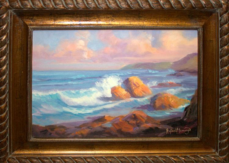 Rafael Original Oil The Surf en Plein Air