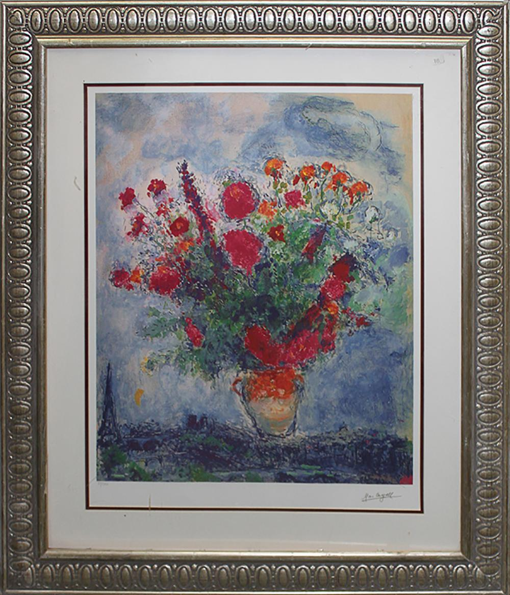 Marc Chagall Bouquet Over City Limited Edition Lithograph