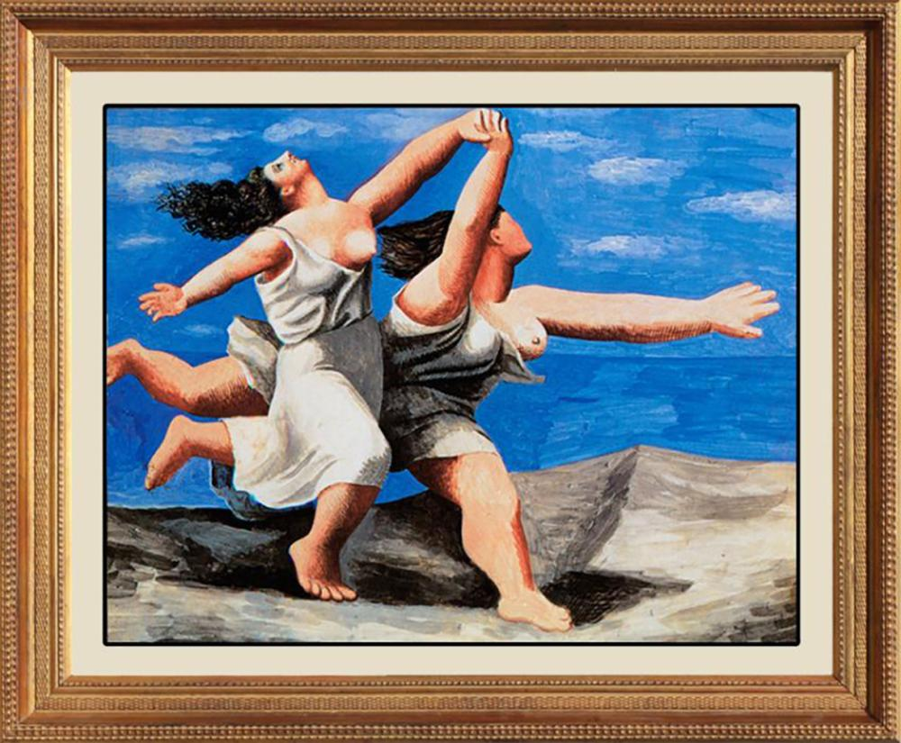 Two Women Running on Beach  after Pablo Picasso
