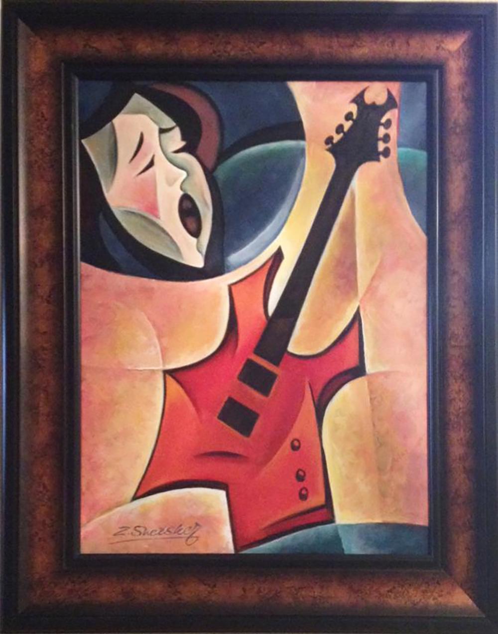 Zinovy Shersher Rock Guitar Mixed Media  Original Oil on canvas Rhapsody