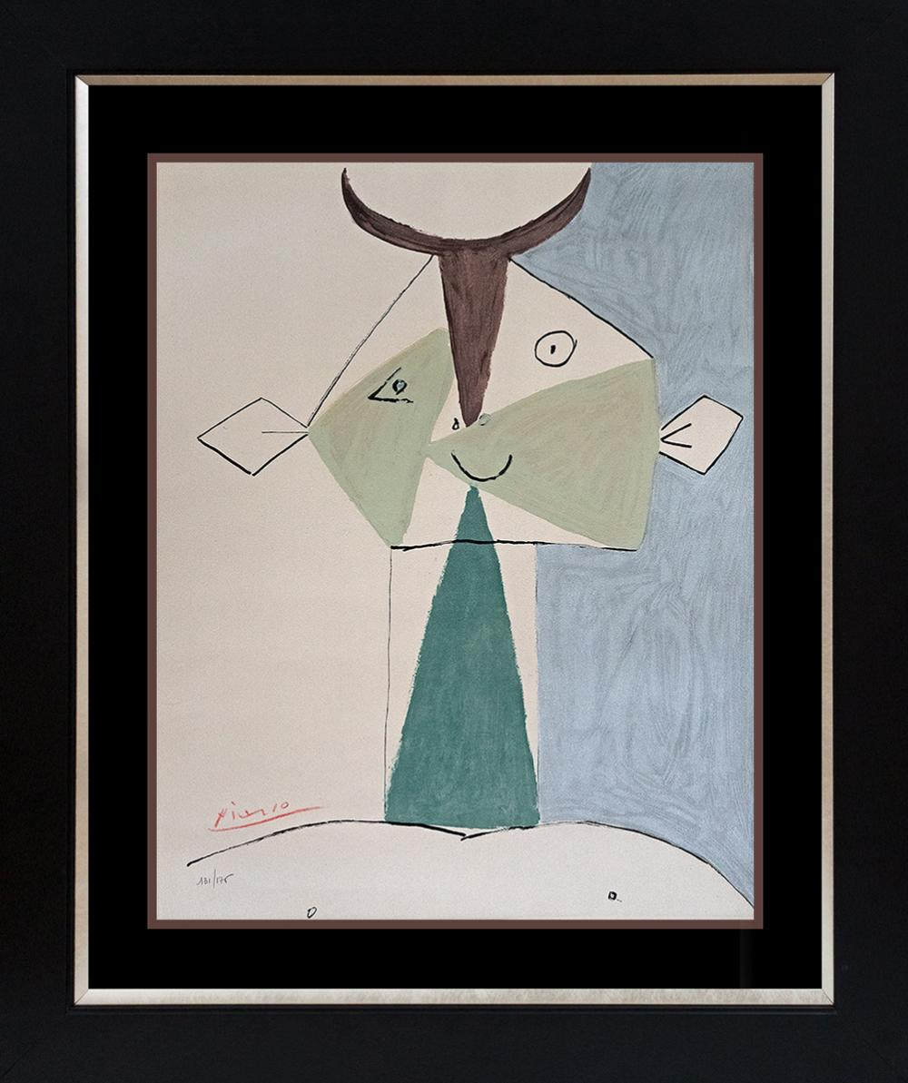 Pablo Picasso Limited Edition Pochoir Lithograph Hand signed and numbered La Petit Jeune Antibes from 1946, 131 of 176 edition created in  Paris