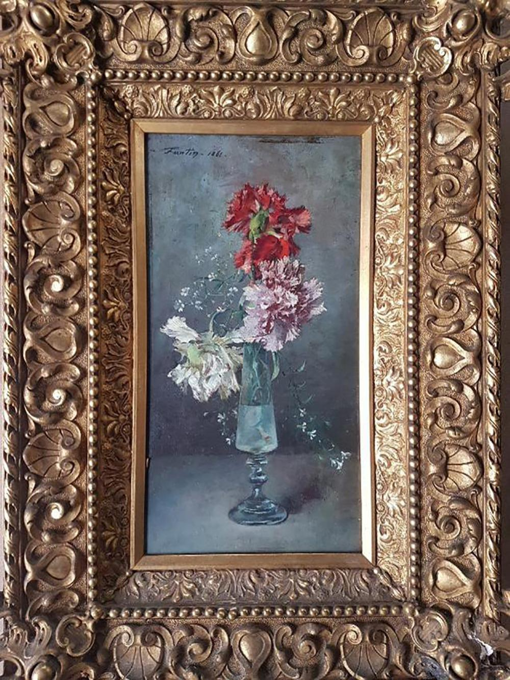 """Rare French Painting Henri Fantin-Latour, """"A Bouquet of Carnations"""" 1861   Oil on Wood"""