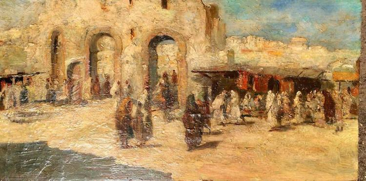 Mariano Fortuny y Marsal Original Oil on canvas The Arab Market from 1862