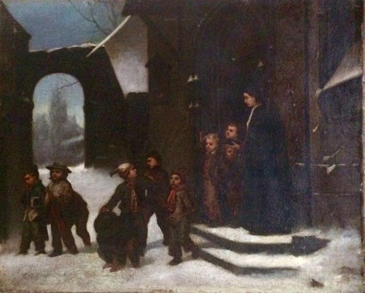 John George Brown Original Oil on canvas 68x55 cm