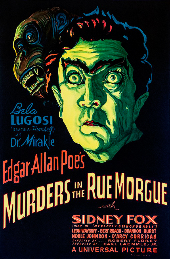 Bela Lugosi  Murders in the Rue Morgue Edgar Allen Poe Vintage Original Lithograph