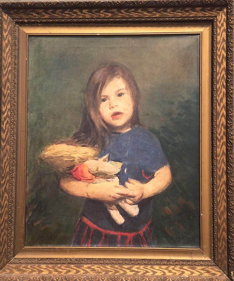 Robert Henri( 1883- 1929) Girl with Doll Original Oil on canvas from 1910.
