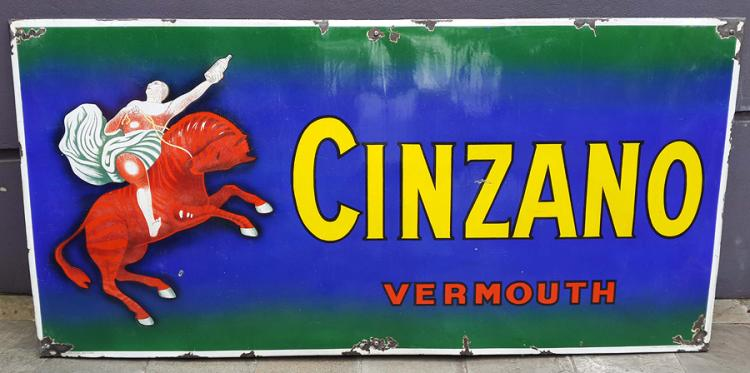Cinzano from 1925. CINZANO VERMOUTH SIGN ENAMEL PORCELAIN LEONETTO CAPPIELLO GIANT 77""